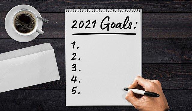 Aufzählung mit Zielen Nr. 1 bis 5 für 2021. Wort. Goals