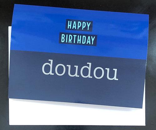 'Doudou' Birthday Card - Blue