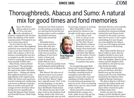 Thoroughbreds, Abacus and Sumo: A natural mix for good times, fond memories