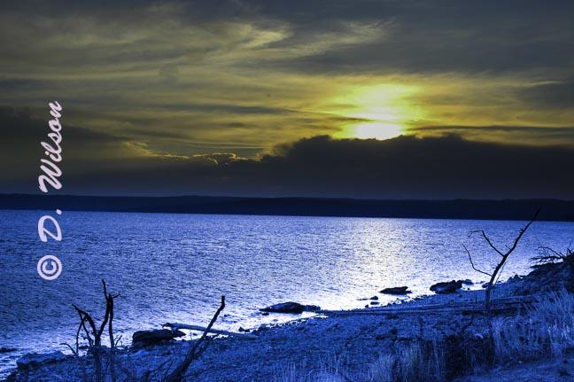 Sunset Over Yellowstone Lake - Wy