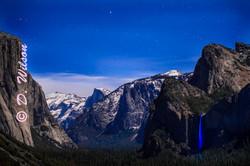 Yosemite Valley with Bridal Falls at night