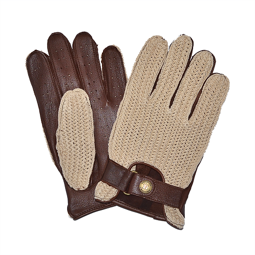 100% Deerskin Leather Crochet String Back Driving Gloves - Brown