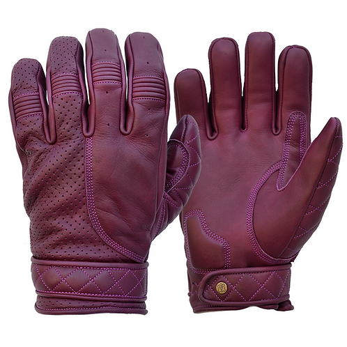 Mens Purple Berry Oxblood Leather Short Bobber Motorcycle Gloves