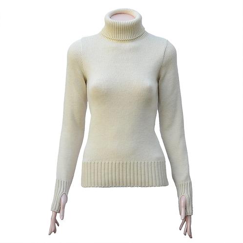 Ladies Fitted Merino Wool Submariner Sweater - Ecru