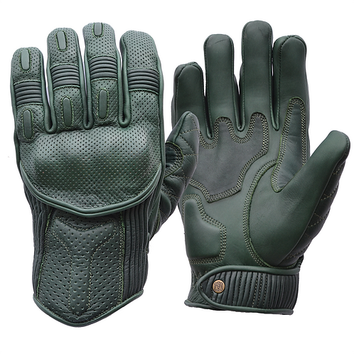 Goldtop British Racing Green Leather CE Armoured Cafe Racer Unlined Summer Motorcycle Gloves