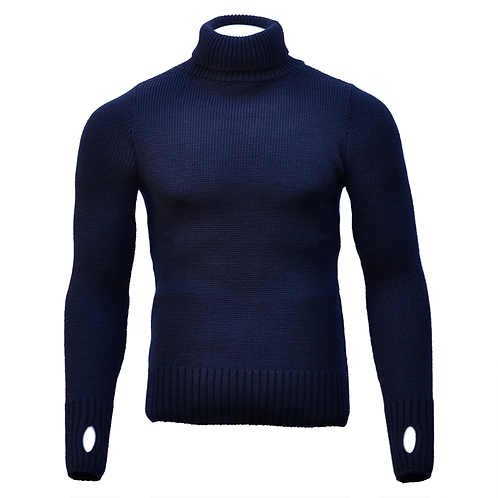 Fitted Merino Wool Submariner Sweater - Navy Blue