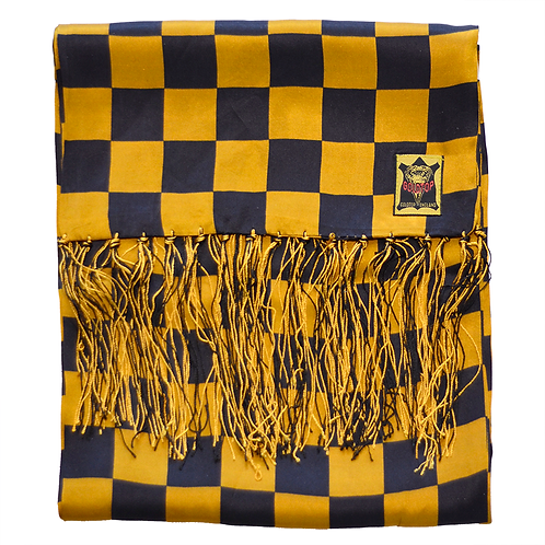 100% Silk Chequered Flag Scarf - Black & Gold