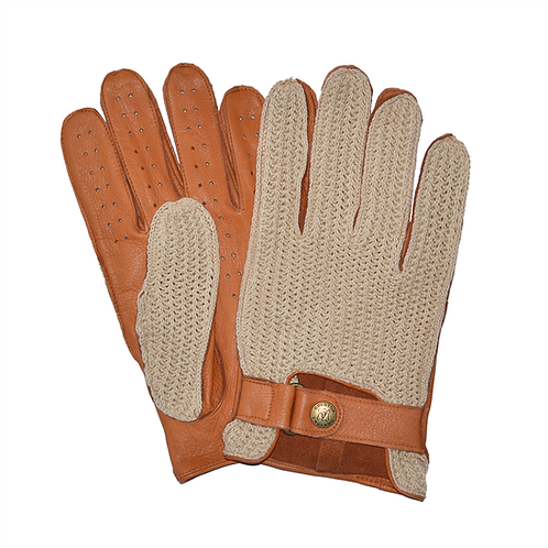 100% Deerskin Leather Crochet String Back Driving Gloves  - Tan