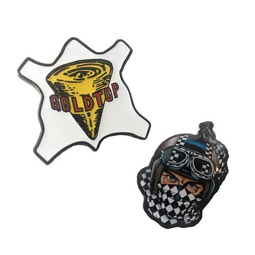 Goldtop Badge Pins (Set of 2)
