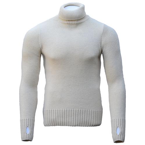 Mens Ecru Merino Wool Turtleneck Rollneck Submariner Sweater - Front View