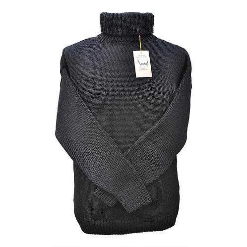 Classic Merino Wool Submariner Sweater - Black
