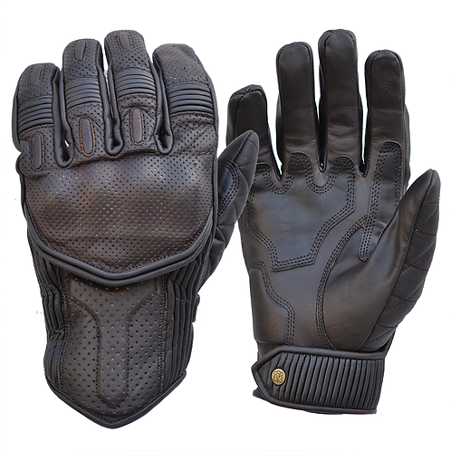 Goldtop Oiled Cognac Leather CE Armoured Cafe Racer Unlined Summer Motorcycle Gloves