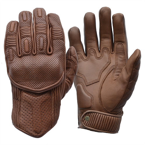 Goldtop Brown Leather CE Armoured Cafe Racer Unlined Summer Motorcycle Gloves