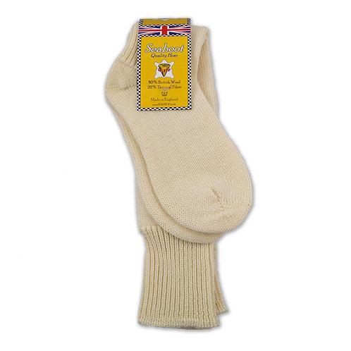 80% Wool Seaboot Socks for Motorcycle Fisherman Warm Sea Boot Hose in Ecru
