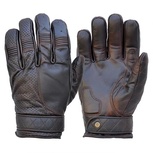 Mens Oiled Cognac Brown Leather Short Bobber Motorcycle Gloves