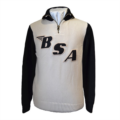 Limited Edition BSA x Goldtop Motorcycle Racing Sweater - Ecru / Black