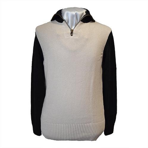1920s Classic Motorcycle Racing Sweater - Ecru / Black