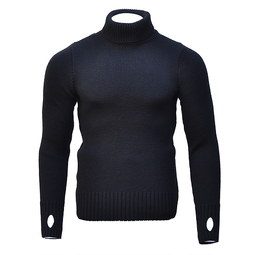 Fitted Merino Wool Submariner Sweater - Black