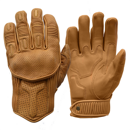Goldtop Sand Tan Leather CE Armoured Cafe Racer Unlined Summer Motorcycle Gloves