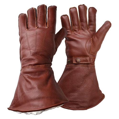 Merino Wool Lined Gauntlet - Brown
