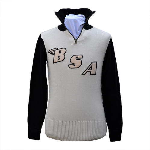 Limited Edition BSA x Goldtop Motorcycle Racing Sweater - Ecru / Ecru