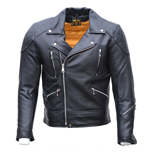 Goldtop Traditional 1960s Brando Style Leather Motorcycle Jacket in Black