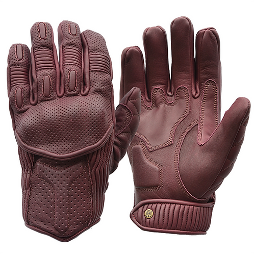 Goldtop Oxblood Burgundy Purple Leather CE Armoured Cafe Racer Unlined Summer Motorcycle Gloves