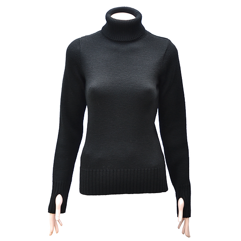 Ladies Fitted Merino Wool Submariner Sweater - Black