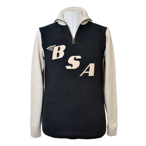 Limited Edition BSA x Goldtop Motorcycle Racing Sweater - Black / Ecru