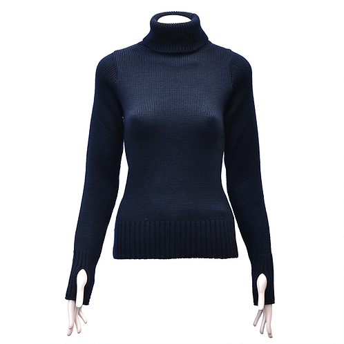 Ladies Fitted Merino Wool Submariner Sweater - Navy Blue
