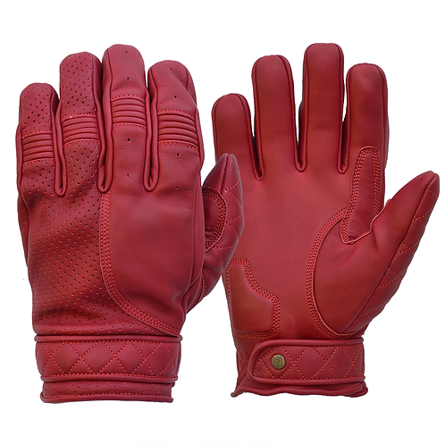 Mens Bright Cherry Red Leather Short Bobber Motorcycle Gloves
