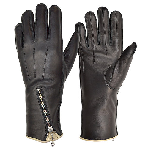 Zipped Unlined Cafe Racer Glove with Trim