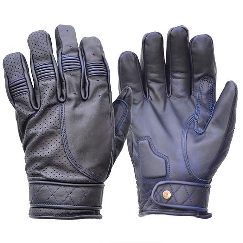 Mens Oiled Blue Leather Short Bobber Motorcycle Gloves