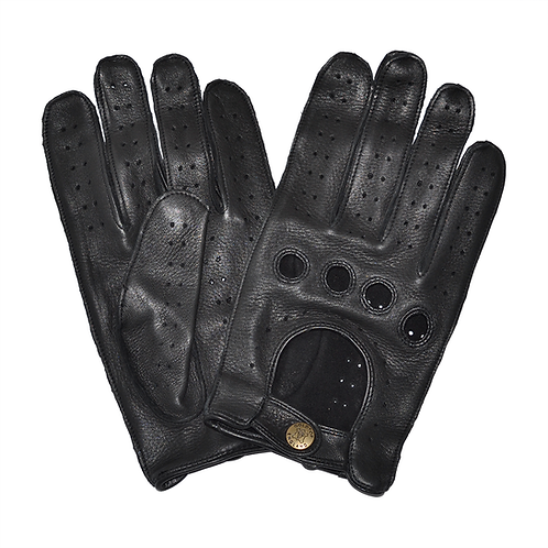 100% Deerskin Leather Driving Gloves - Black