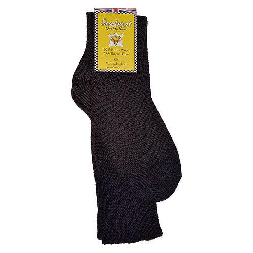 80% Wool Seaboot Socks for Motorcycle Fisherman Warm Sea Boot Hose in Black