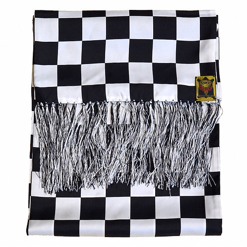Chequered Flag Silk Scarf - Black and White Mens 100% Silk Tootal Scarf