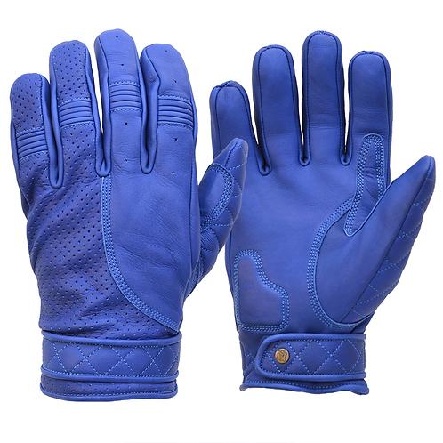 Mens Blue Leather Short Bobber Motorcycle Gloves