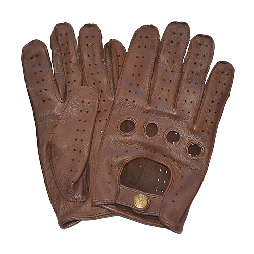 100% Deerskin Leather Driving Gloves - Brown
