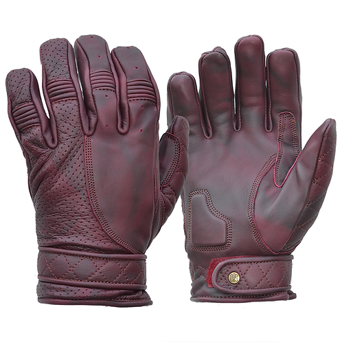 Mens Oxblood Purple Leather Short Bobber Motorcycle Gloves