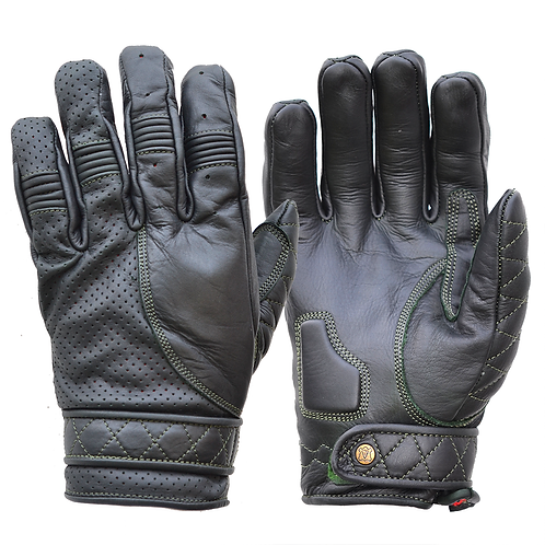 Mens Oiled Green Leather Short Bobber Motorcycle Gloves