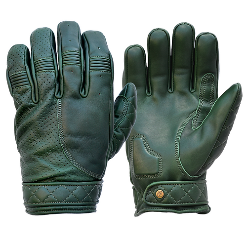 Mens Racing Green Leather Short Bobber Motorcycle Gloves