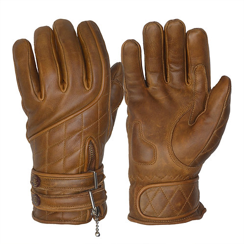 The Quilted Cafe Racer Gloves - Waxed Brown