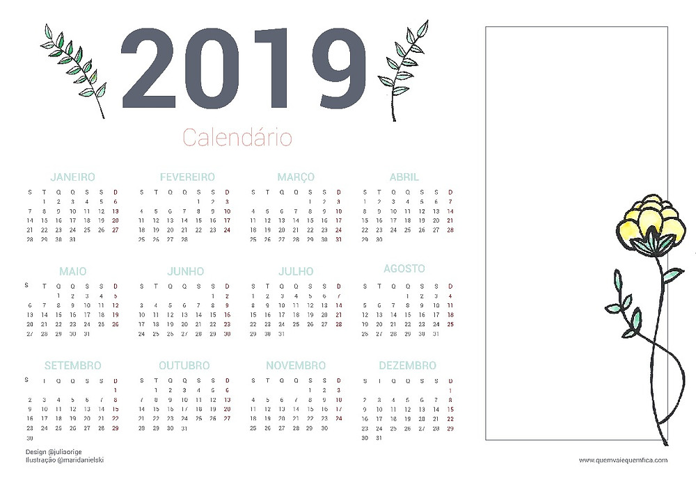 calendário 2019 imprimir grátis
