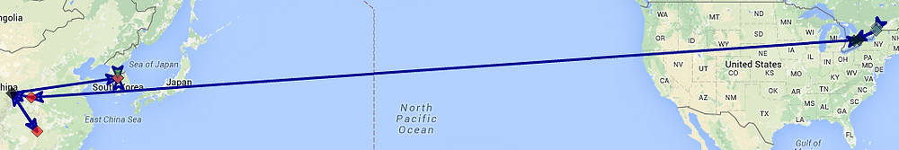 Fig. 2: Map Showing Deflected Routing via China