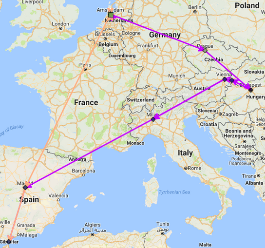 The two routes from Amsterdam to Gibraltar