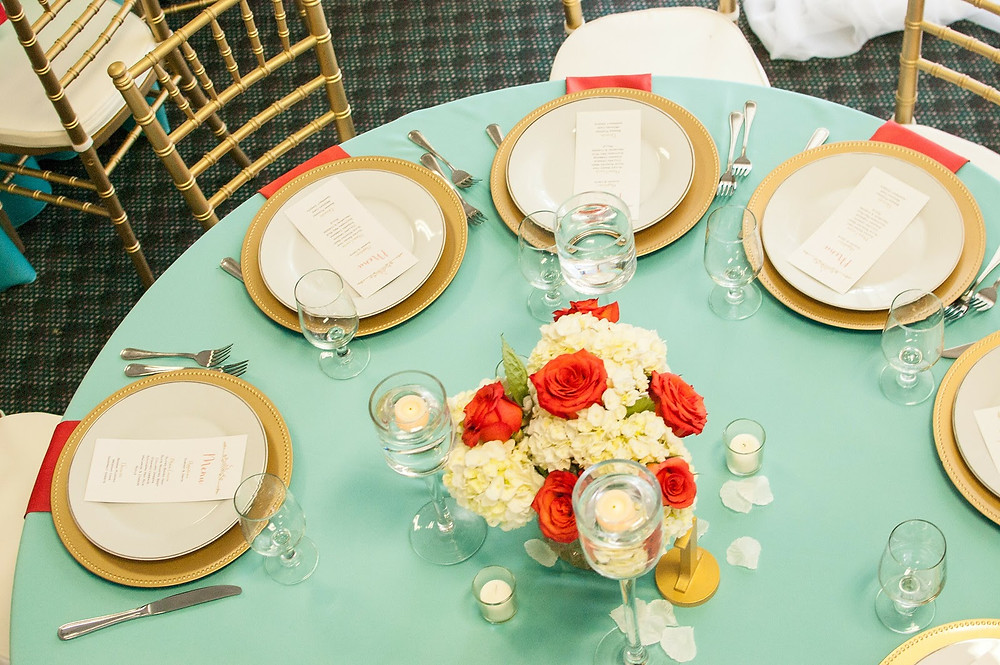 Vibrant and Romantic - Coral, Aqua Turquoise Blue, Gold and White Berkeley Country Club Wedding in Moncks Corner, SC