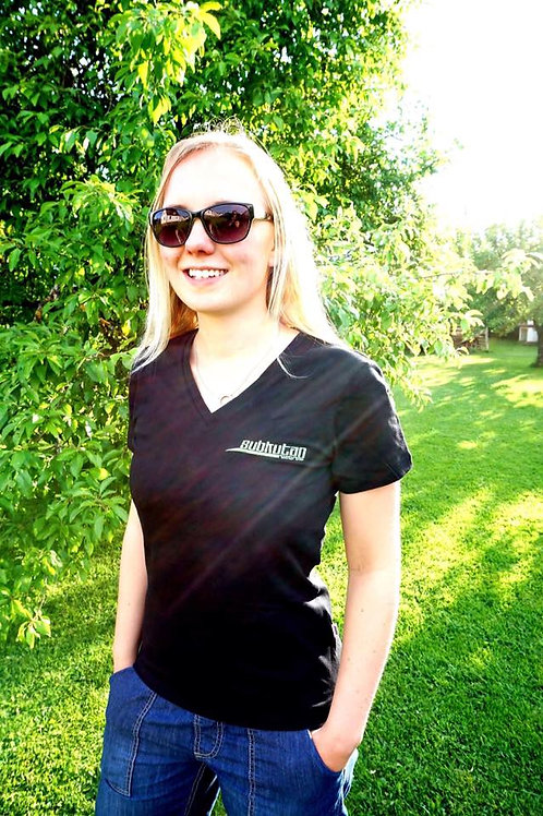 DamenShirt SubkutanRecords V-Schnitt kurzarm (schwarz)