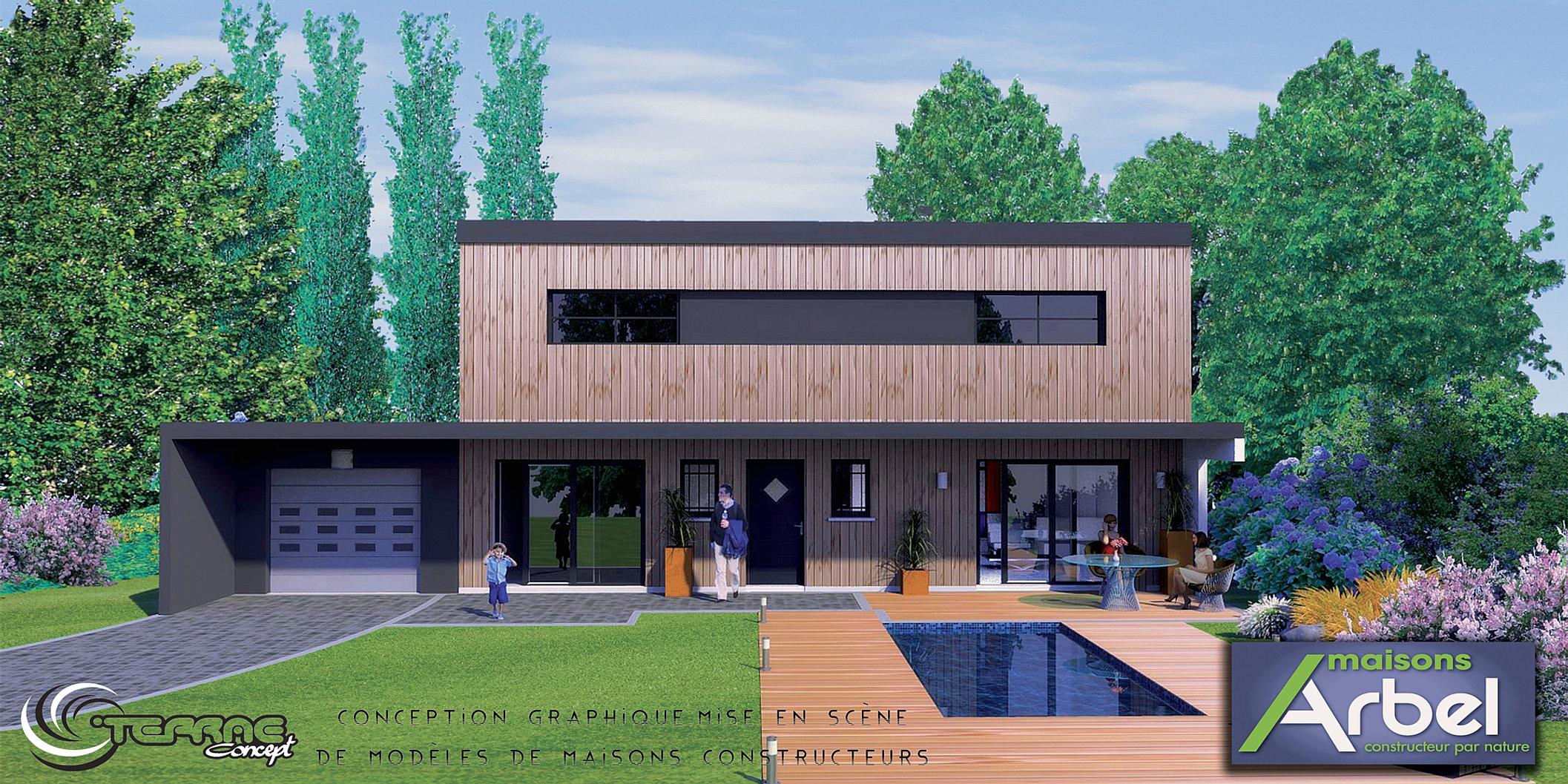 Finest toit terrasse image de maison d bardage bois with modele maison toiture terrasse
