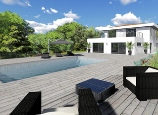 Villa et piscine de luxe.