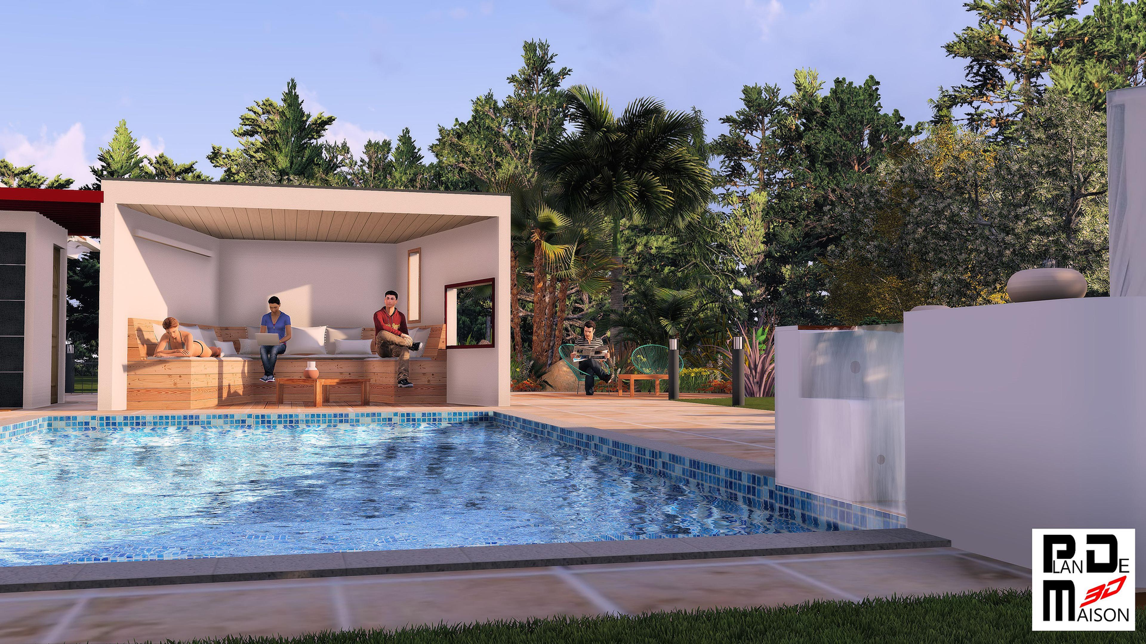 image maison 3d permis de construire plan maison 3d agence immobiliere spa piscine pool. Black Bedroom Furniture Sets. Home Design Ideas